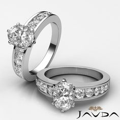 Oval Shape Channel Set Diamond Elegant Engagement Ring GIA G SI1 Platinum 1.7 ct