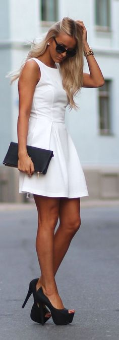 White Patter Fit And Flare Mini Dress