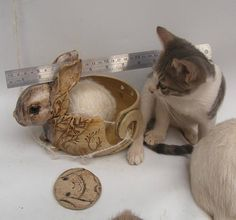 Big Cute Bunny Yarn Bowl Rabbit Stoneware Yarn Bowl Comes With