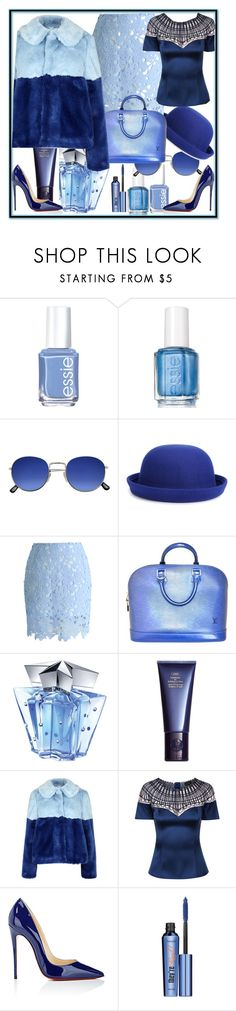 """""""Light-Blue"""" by babalucreaguilar ❤ liked on Polyvore featuring Essie, WithChic, Chicwish, Louis Vuitton, Thierry Mugler, Space NK, Alice + Olivia, Christian Louboutin and Benefit"""