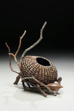 www.matttommey.com Sculptural Art Basket by Matt Tommey made from kudzu, poplar bark, laurel branches, copper and encaustic wax.