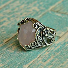 Rose quartz and sterling silver ring