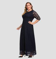 976165491ae Women s Plus Size Lace Maxi Evening Dress Navy