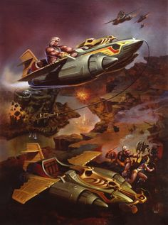 Box art for the Wind Raider, a futuristic flying vehicle with medieval highlights from the Masters of the Universe