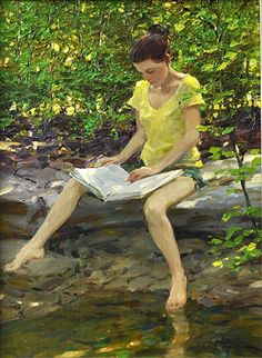 Cool Spot by David Hettinger (American) - Oil ~ 16 in x 12 in. http://hettingerstudio.com/