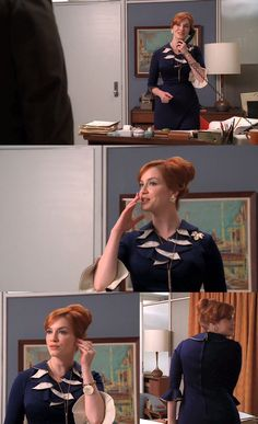 I'm in love with the navy blue and white dress that Joan wears in episode 4x01 of Mad Men. If I could ever find a dress like this, it would be the ultimate vintage score.