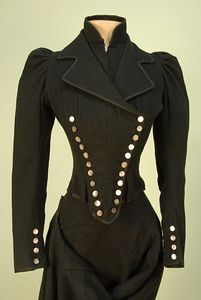 Jacket from Three-Piece Riding Habit: ca. sidesaddle, wool double-breasted boned jacket with eleven mother-of-pearl buttons on each side and narrow four button sleeve closure. Edwardian Fashion, Clothes, Fashion, Victorian Fashion, Vintage Outfits, Victorian Steampunk Fashion, Women, Vintage Fashion, Historical Fashion