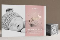 Heirloom Scroll Foil-Pressed Birth Announcement Cards by Cheer Up Press at minted.com