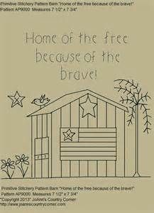 "Primitive Stitchery E-Pattern, Country Barn ""Home of the free because ..."