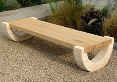 Ingarden Stone Garden Bench, Curved Barley Gold Sandstone Legs With A Smooth Hardwood Seat by INGARDEN, http://www.amazon.co.uk/dp/B00DN4ERMW/ref=cm_sw_r_pi_dp_9H6ysb066638V