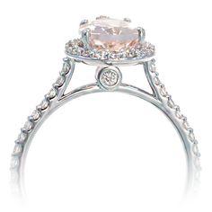 Morganite Pear Halo Diamond Engagement Ring $1100