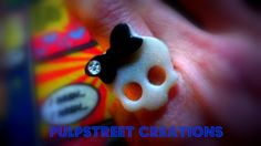 Girly Skull with Rhinestone Ring Adjustable by PulpStreetCreations, $5.00
