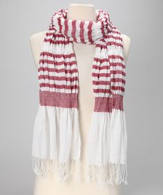 Take a look at this Tickled Pink Dark Red Beach Stripe Scarf by Tickled Pink on #zulily today!
