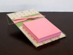 Post It Note Holders 4X6 | Post it Note Holder Pink by sparklecatscreations on Etsy