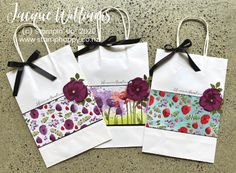 tags hand made Peaceful Poppies Altered Gift Bag Pretty Packaging, Gift Packaging, Packaging Ideas, Decorated Gift Bags, Poppy Cards, Craft Bags, Handmade Crafts, Handmade Tags, Stampin Up Cards