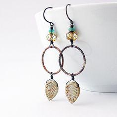 Boho Copper Hoop Earrings Glass Leaf Dangles by jFrancesDesign