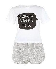 Teens Grey Sofa TV Snacks Pj s Slogan Pyjamas Set  31af58898