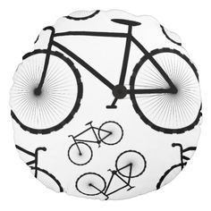 Stylish Bicycle Collage Round Pillow