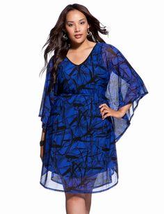 Print Mesh Caftan Dress