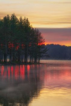 S u n s e t, #sunset, water, trees, cluds, peaceful, silence, beauty of Nature, reflections, solitude, stunning scenery