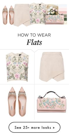 """""""Flats"""" by lovetodrinktea on Polyvore featuring BCBGMAXAZRIA, RED Valentino, Needle & Thread and Miu Miu"""
