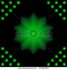 Green star with the ball in the center. abstract background.
