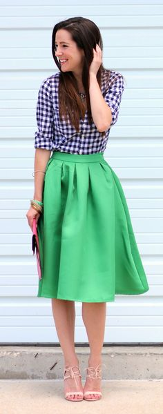 Flared kelly green midi skirt with a blue gingham button down, pink monogrammed clutch, and emerald J.Crew statement necklace | Eating Recovery Day Ensemble: Kelly Green Midi Skirt and Emerald Jewels by Stephanie Ziajka from Diary of a Debutante