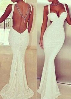 White Elegant Backless Mermaid Dress