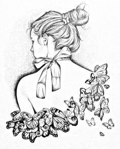beautiful woman coloring pages - Yahoo Image Search Results Colorful Drawings, Colorful Pictures, Art Drawings, Coloring Book Pages, Printable Coloring Pages, Line Art, Illustration, Sketches, Artwork