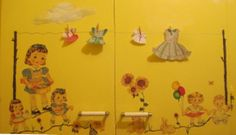 My paper doll laundry room.....adhesive copy paper, paint, tiny clothes pins, cord/yarn for clothes line.
