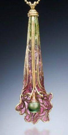 Pitcher Plant Pendant Art Nouveau