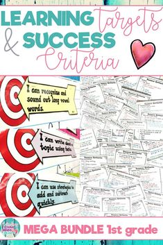 These 1st grade printable Common Core State Standard aligned learning targets and success criteria are an efficient and effective visual to help your students meet their daily learning objectives. Targets are written in kid friendly language using 'I can' statements and the success criteria are the exact steps needed to meet those learning targets. Click the link to see the learning targets and success criteria in action! #learningtargets #learning #targets #objectives #sucesscriteria