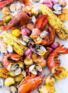 New England Clambake Recipe (The problem with New England clambakes is that they tend to take place in New England. That is, until this easy clambake recipe came along. It works its magic in the oven instead of at the beach. Seafood Dishes, Fish And Seafood, Seafood Recipes, Cooking Recipes, Seafood Boil Party, Grilled Seafood, Shellfish Recipes, Easy Lobster Recipes, Grilled Lobster