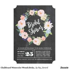 Chalkboard Watercolor Wreath Bridal Shower Invite