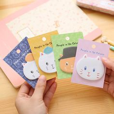 (4Styles)Cool Cat Memo Pads Angola Kitty Town Creative Cartoon Stationery Kawaii Diy Stickers Scrapbooking Cute Sticky Notes