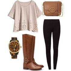 Tall Riding Boots with Leggings and Tunic