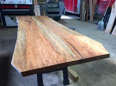 """Sycamore is such an under-appreciated hardwood. Here's a sneak peek of a 10' X 42"""" two piece dining table that will be available for sale very soon in our new showroom. This is the bottom side of the table, imagine how good the top looks ;) #wood #woodworking #dowoodworking #woodwork #woodcraft #handmade #handcrafted #salvage #reclaimed #repurposed #treepurposed #puremichigan #madeindetroit #sycamore #slab #liveedge #naturaledge #custom #furniture #interiordesign #work #nofilter…"""