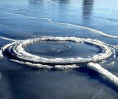 An ice disc (10 metres in diameter) in northern China's Liaodong Bay reported 2011 in The Telegraph.  Ice discs or ice pans are an unusual natural phenomenon, thin, circular slabs that rotate in slow moving water in cold climates.