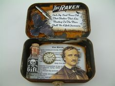 poe altered book | received this fabulous altered tin from Martina in a Poe themed ...