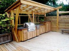 """Fantastic """"outdoor kitchen designs layout patio"""" info is offered on our site. Check it out and you wont be sorry you did. Simple Outdoor Kitchen, Rustic Outdoor Kitchens, Outdoor Kitchen Plans, Outdoor Cooking Area, Outdoor Kitchen Countertops, Patio Kitchen, Outdoor Kitchen Design, Kitchen Grill, Kitchen Modern"""