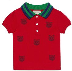 Baby polo with tiger heads embroidery