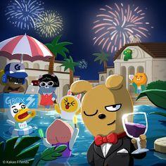 - 낮보다 화려한 '프로도 풀빌라'의 밤이 시작됐어요! DJ 제이지 비트에 맞춰 파티를 즐겨볼까요? #2017_썸머리미티드_프로도풀빌라 - Welcome to the party at Frodo's Pool Villa. Enjoy the music played by DJ Jay-G. - #카카오프렌즈 #프로도풀빌라 #드랍더비트#여름한정 #미니인형판매중 #파티 #그대의눈동자에건배 #썸머바캉스 #KakaoFriends #SummerVacation #FrodoPoolVilla #SellingMiniDolls #VacationSpot #NewProduct #SummerLimited #Chilling #Vacation #Holiday #Summer #partynight #Party #Poolvilla Friends Gif, Line Friends, Kakao Ryan, Kakao Friends, Friends Wallpaper, Happy Saturday, Saturday Night, Game Character Design, Cute Designs