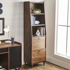 Better Homes & Gardens Montclair 3 Shelf Narrow Bookcase with 2 Drawers, Vintage Walnut Finish Image 2 of 16 Bookcase With Drawers, 3 Shelf Bookcase, Bookshelves, Small Apartment Furniture, Apartment Living, Condo Living, Studio Apartment, Living Rooms, Tiny Apartments