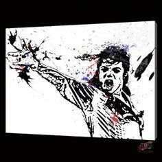 3079 handpainted modern abstract oil painting on canvas wall art for living room Michael Jackson sing dance picture $80.00