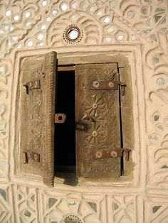 Gujarat, India- when a door is closed a window is opened. Mud House, Architecture Details, Installation Architecture, Gothic Architecture, Ancient Architecture, Incredible India, Doorway, Stairway, Windows And Doors