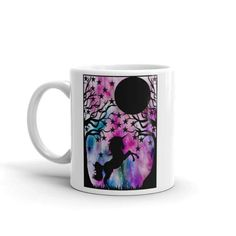 This listing is for an mug with a print of my unicorn fantasy art piece featuring a unicorn rearing in the woods under a starry night sky with a full moon.  Magic and mystery make fantastic art pieces and my love of nature shines through in this piece.  - Ceramic - Dishwasher safe - Microwave safe - Available in 11 oz and 15 oz sizes - White, glossy  This sturdy white, glossy ceramic mug is an essential to your cupboard. Looking for the perfect amount of your hot beverage without refills?…