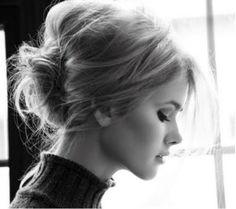 Bardot brilliance. Messy bun.