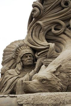 Sand Art - Native American and wolf