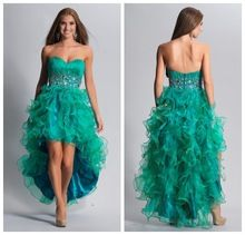 2016 On Sale Factory Direct Sweetheart Crystal Beading Ruffle Organza Green Party Gown Short Front Long Back Prom Dress(China (Mainland))