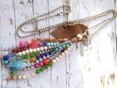 Charm- & Bettelketten - Bettelkette ★ Leder ★Glasperlen - ein Designerstück von josefine1961 bei DaWanda